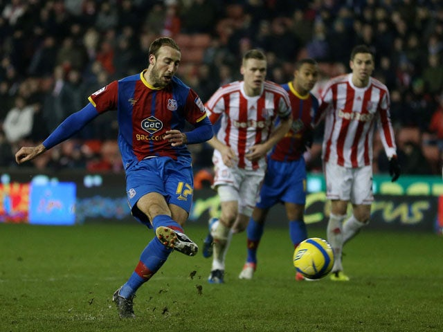 Glenn Murray scores a late penalty for Crystal Palace in their match against Stoke City on January 15, 2013