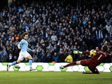 City midfielder David Silva opens the scoring against Fulham on January 19, 2013