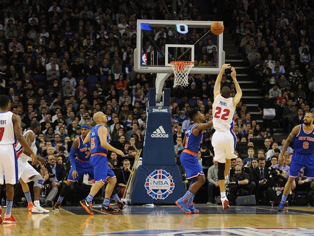 Tayshaun Prince of the Detroit Pistons has a shot 2013 NBA London Live match on January 17, 2013
