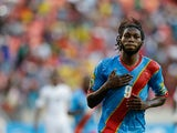 Congo DR's Dieudonne Mbokani celebrates after converting a penalty to level the score against Ghana on January 20, 2013