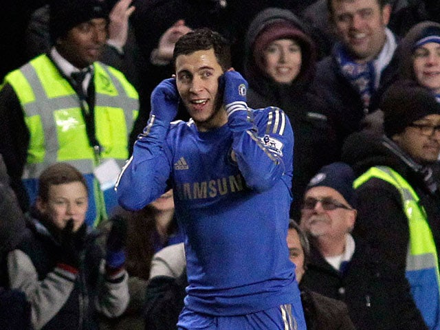 Eden Hazard celebrates scoring his team's second against Southampton on January 16, 2013