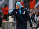 Marseille coach Elie Baup on the touchline during the match against Montpellier on January 19, 2013