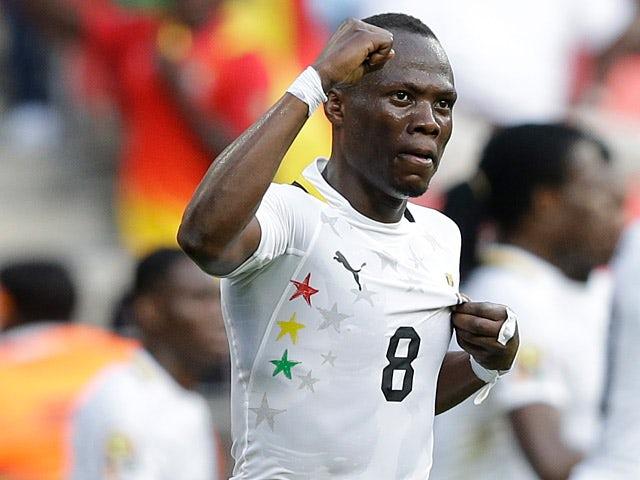 Ghana's Emmanuel Badu celebrates scoring the opening goal against Congo DR on January 20, 2013