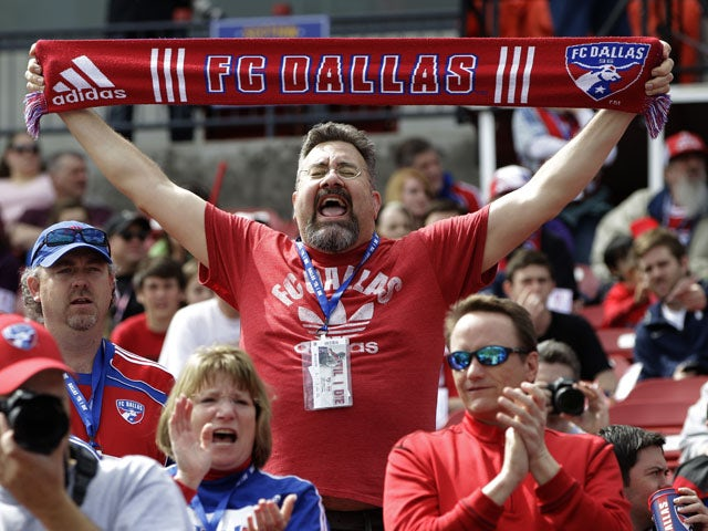 An FC Dallas fan during his sides match against the New York Red Bulls on March 11, 2012