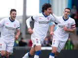 Rangers' Francisco Sandaza celebrates after scoring the opener against Peterhead on January 20, 2013