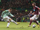 Celtic's Gary Hooper scores his second against Hearts on January 19, 2013