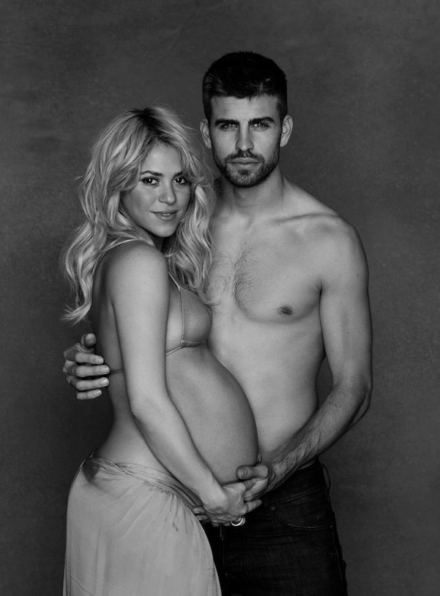 Gerard Pique and pregnant wife Shakira pose topless