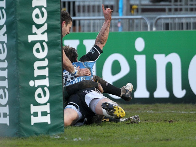 Glasgow Warriors score a try against Northampton Saints in the Heineken Cup on January 19, 2013
