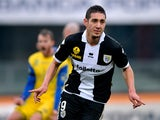 Parma's Ishak Belfodil celebrates after scoring the opener against Chievo on January 20, 2013