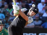 NZ batsman James Franklin plays a shot against South Africa on Boxing Day 2012