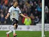 Derby's Jamie Ward celebrates after scoring the equaliser against rivals Forest on January 19, 2013