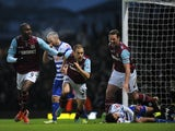West Ham's Joe Cole celebrates his equalising goal against QPR on January 19, 2013