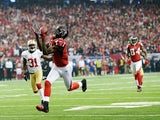Falcons WR Julio Jones catches a 46-yard touchdown pass in the NFC Championship game against San Francisco on January 20, 2013