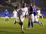 Leeds United forward El-Hadji Diouf celebrates scoring his sides second goal against Birmingham City on January 15, 2013