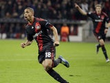 Leverkusen's Sidney Sam celebrates scoring during his sides Champions League tie with Valencia on October 19, 2013