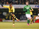 Dortmund's Mario Gotze scores a goal against Werder Bremen on January 19, 2013
