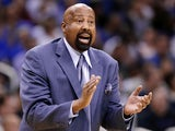 New York Knicks coach Mike Woodson provides encouragement on January 5, 2013