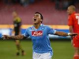 Napoli's Eduardo Vargas celebrates after scoring during his sides Europa League match on September 20, 2012