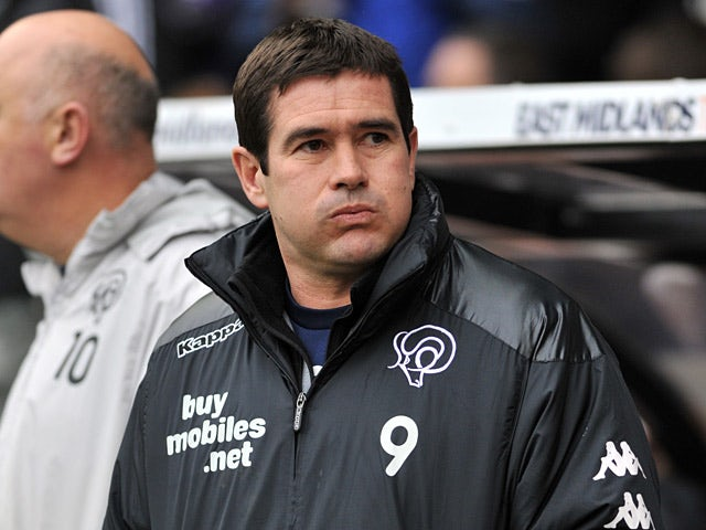 Derby manager Nigel Clough on the touchline during the match against Forest on January 19, 2013