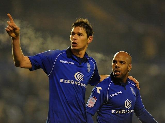Birmingham striker Nikola Zigic celebrates a late equaliser against Brighton on January 19, 2013