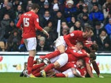 Nottingham Forest players celebrates Chris Cohen's opener against rivals Derby on January 19, 2013