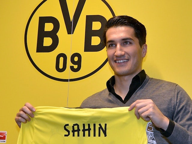 New Dortmund midfielder Nuri Sahin at a press conference on January 13, 2013