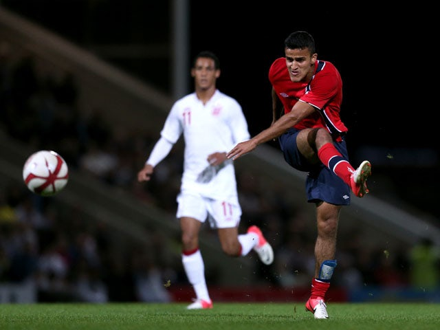 Norway's Omar Elabdellaoui shoots during his sides match at the UEFA European Under 21 Championship on September 10, 2012