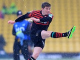 Saracens' Owen Farrell takes a penalty during the Heineken Cup match against Edinburgh on January 20, 2013