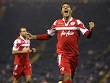 Queens Park Rangers Jay Bothroyd celebrates scoring his sides goal in their FA Cup third round replay against West Bromwich Albion on January 15, 2015