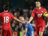 Rickie Lambert celebrates his goal with Jack Cork against Chelsea on January 16, 2013