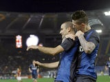 Inter Milan's Rodrigo Palacio celebrates a goal against Roma on January 20, 2013