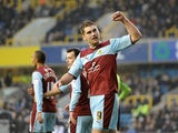 Burnley's Sam Vokes celebrates scoring the opener against Millwall on January 19, 2013