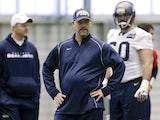Seattle Seahawks defensive coordinator Gus Bradley stands on the field during his sides practice on January 10, 2013