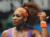 Serena Williams in second round action at the Australian Open on January 17, 2013