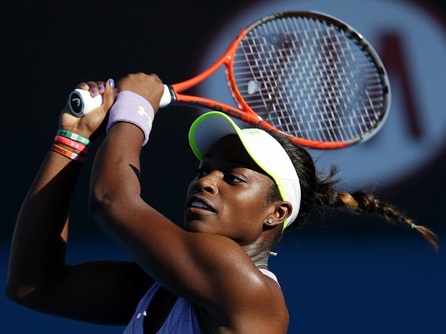 Sloane Stephens hits a backhand return to Laura Robson in the third round of the Australian Open on January 19, 2013
