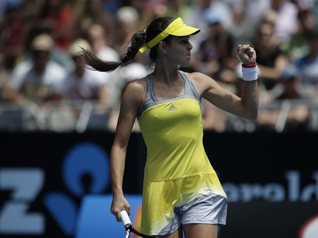 Serbia's Ana Ivanovic celebrates winning a point during her third round match at the at the Australian Open tennis championship on January 18, 2013