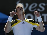 Britain's Andy Murray celebrates after defeating Ricardas Berankis in the third round of the Australian Open tennis championship on January 19, 2013