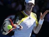 Britain's Andy Murray hits a forehand return during his third round match at the Australian Open tennis championship on January 19, 2013