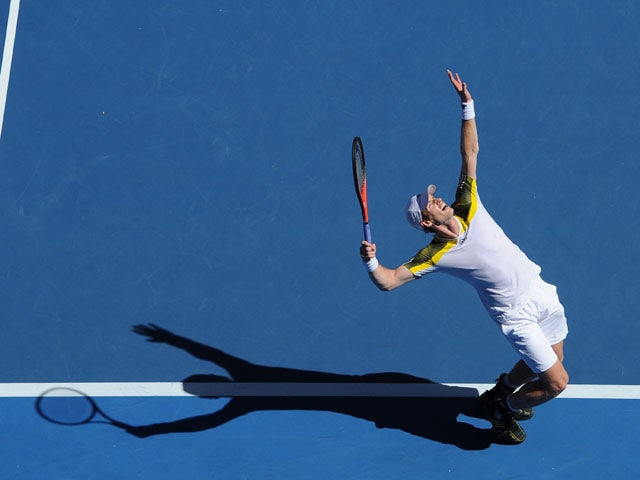 Britain's Andy Murray serves to Ricardas Berankis during their third round match at the Australian Open tennis championship on January 19, 2013
