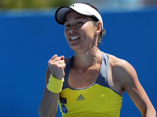 Japan's Kimiko Date-Krumm celebrates winning her first round clash at the Australian Open tennis championship on January 15, 2013