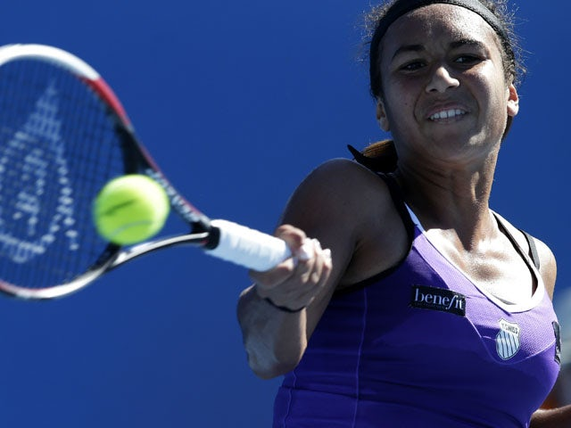 Britain's Heather Watson hits a shot during her second round match at the Australian Open tennis championship on January 16, 2013