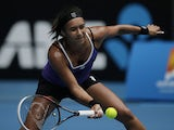 Britain's Heather Watson hits a forehand return during her match against Agnieszka Radwanska at the Australian Open tennis championship on January 18, 2013