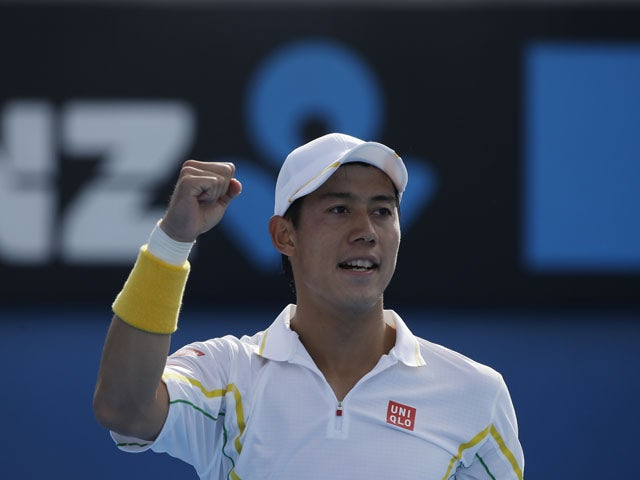 Japan's Kei Nishikori celebrates after winning a point in his third round match at the Australian Open tennis championship on January 18, 2013