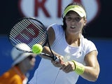 Britain's Laura Robson hits a backhand return in the first round of the  Australian Open tennis championship on January 15, 2013