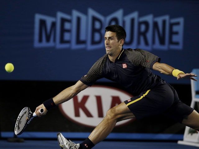 Serbia's Novak Djokovic in action against Ryan Harrison during the second round of the Australian Open tennis championship on January 16, 2013