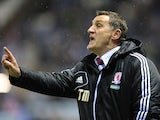Middlesbrough manager Tony Mowbray on the touchline during the match against Leicester on January 18, 2013