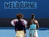 The Williams sisters on court during a doubles match at the Australian Open on January 17, 2013