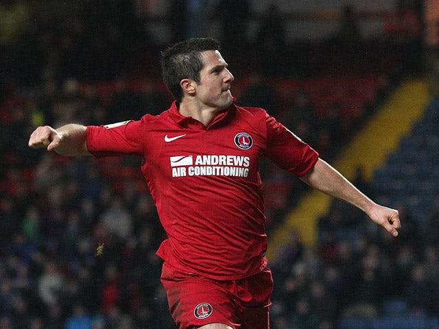 Charlton's Yann Kermorgant celebrates his goal against Blackburn on January 19, 2013