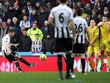 Newcastle's Yohan Cabaye scores a free-kick against Reading on January 19, 2013