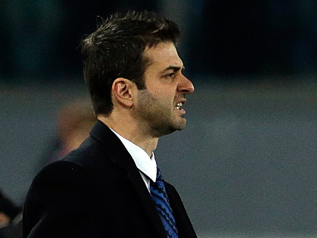 Inter boss Andrea Stramaccioni on the touchline during the match against Roma on January 23, 2013